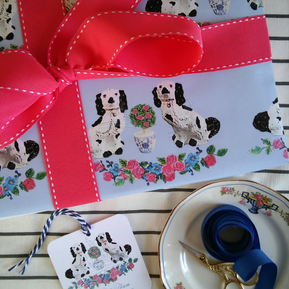Spring Staffordshire Dogs on French Blue Gift Wrapping Paper by Letterworth