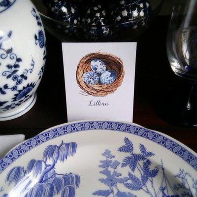 Chinoiserie Nest Watercolor Easter Place Cards by Letterworth (Set of 12)