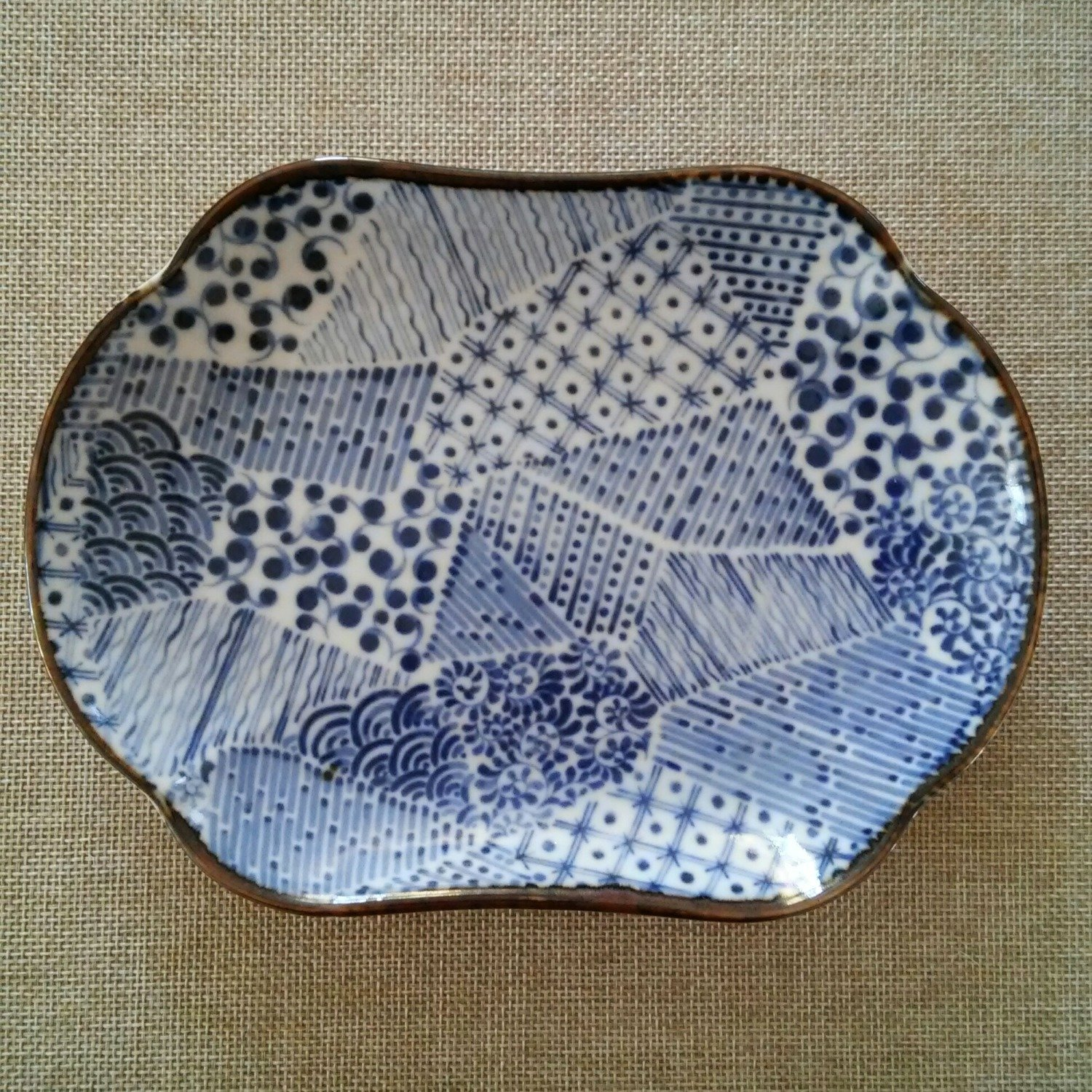 Vintage Takahashi Blue and White Arita Porcelain Trinket Dish