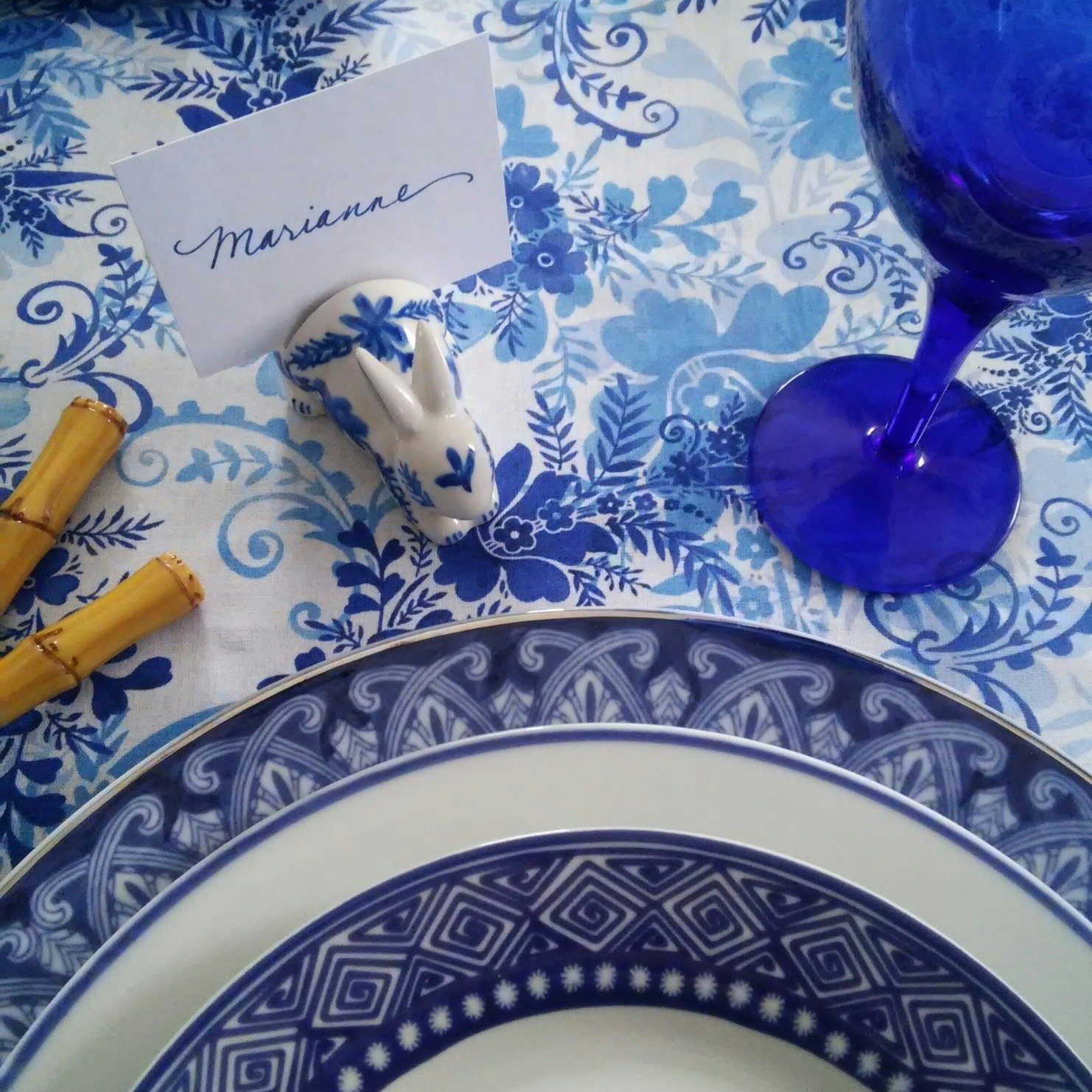 Hand-Painted Blue and White Porcelain Chinoiserie Rabbit Place Card Holders (Set of 4)