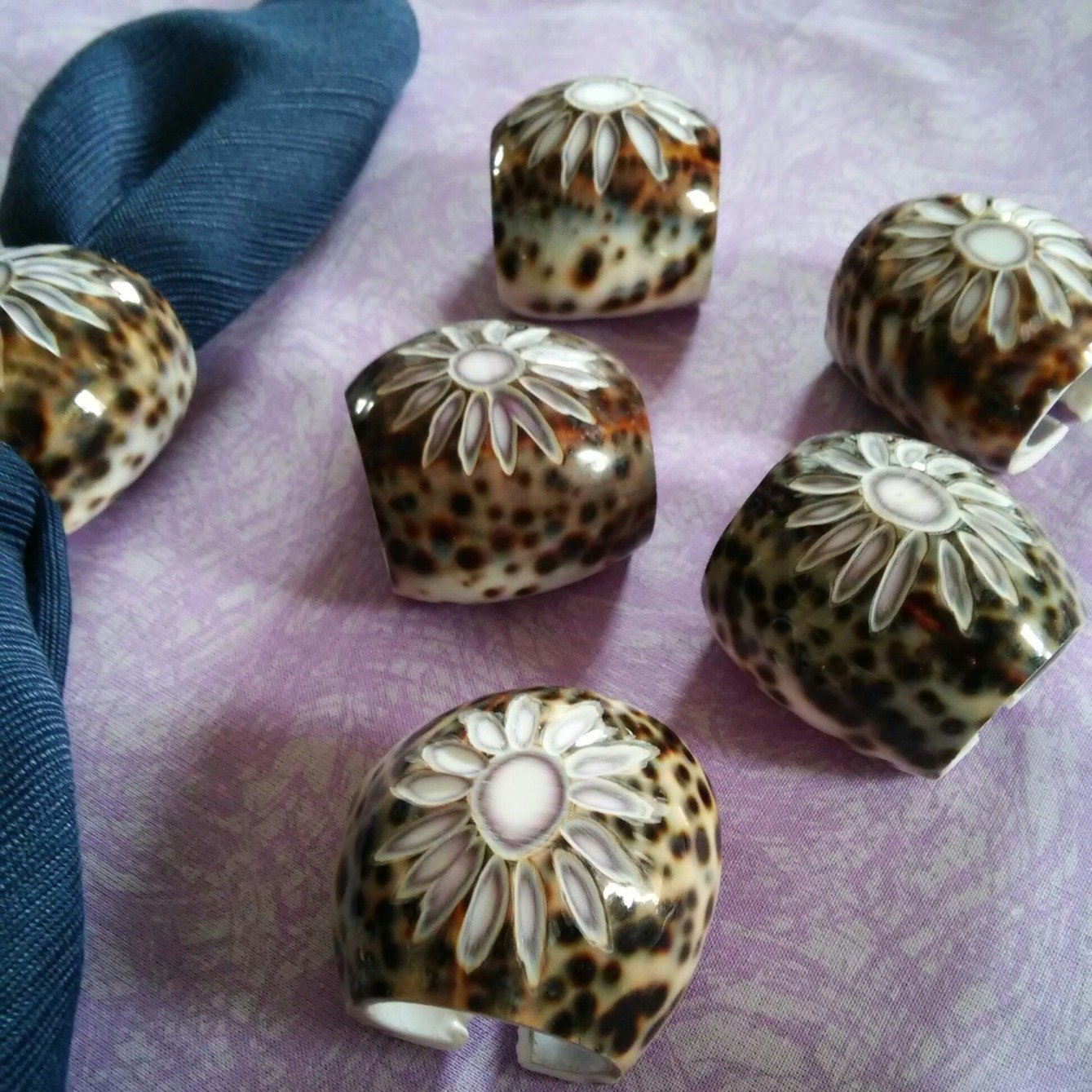 Set of 6 Tiger Cowrie Shell Napkin Rings