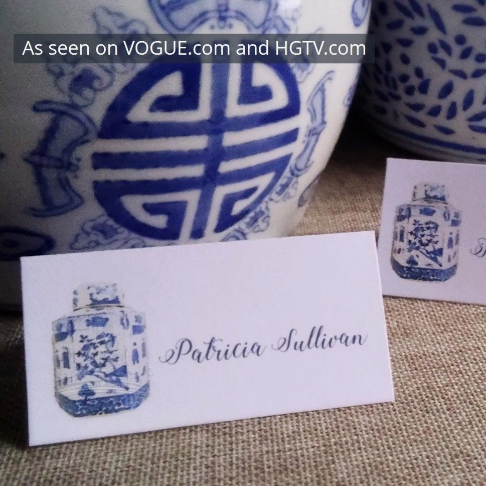 Blue and White Chinoiserie Tea Caddy Place Cards by Letterworth (Set of 12)