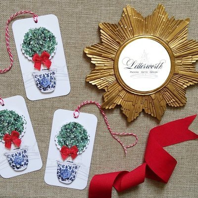 Holiday Boxwood Topiary Three-Dimensional Gift Tags by Letterworth (Set of 12)