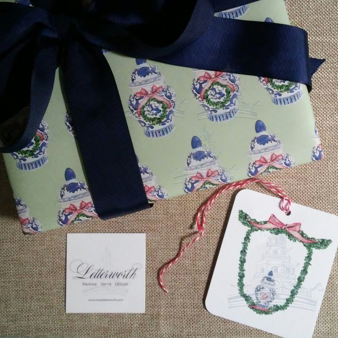 Chinoiserie Ginger Jar Green Holiday Gift Wrapping Paper by Letterworth