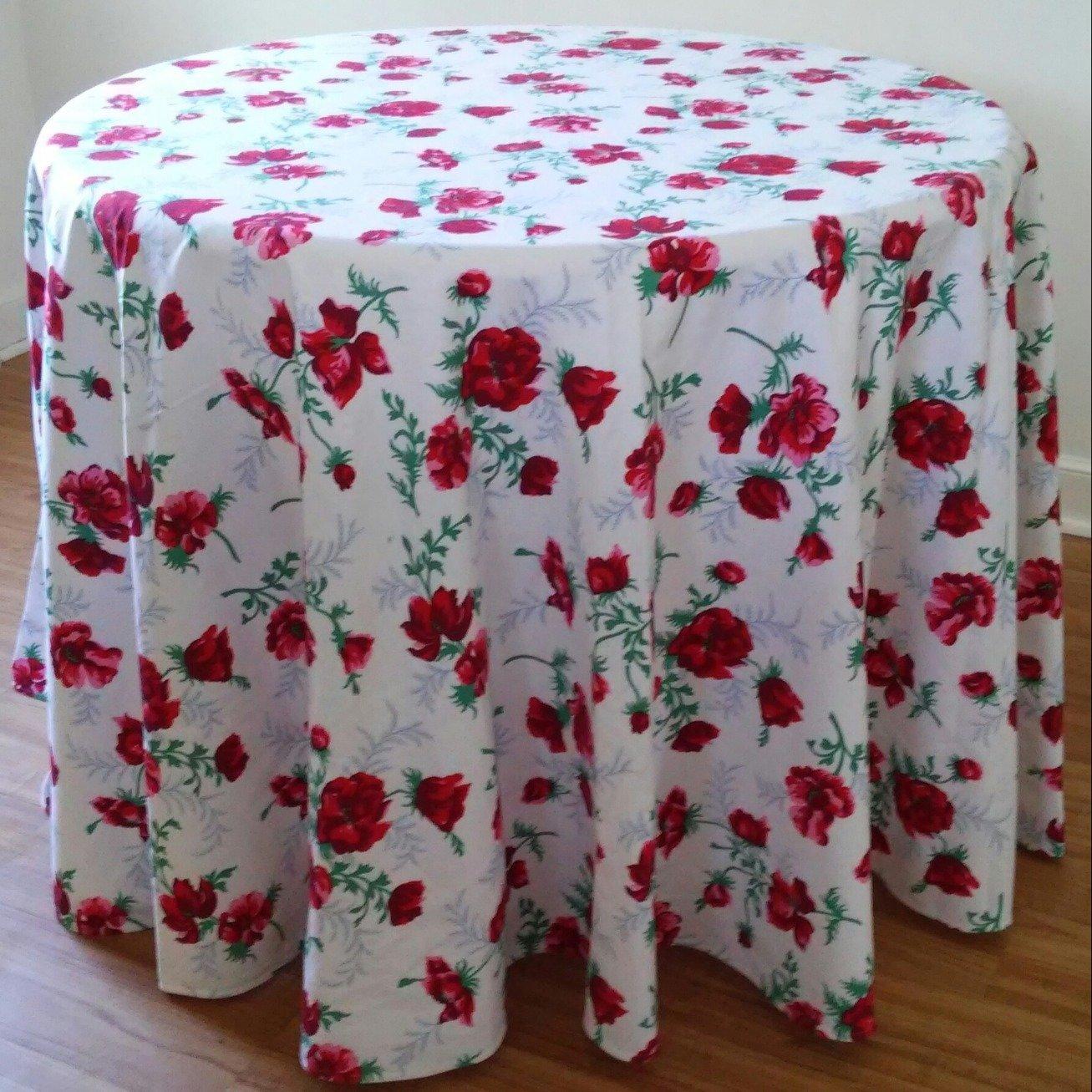"""D. Porthault Poppy Historical Print """"Coquelicots Parisiens"""" Round Cretonne Fabric Tablecloth 96"""" Diameter"""