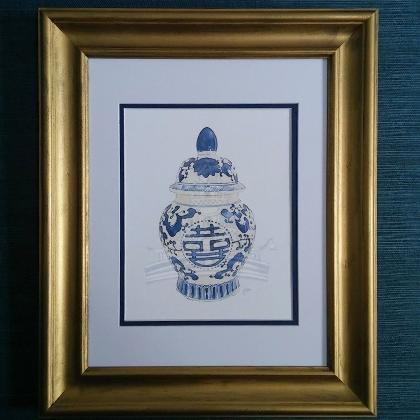 Double Happiness Ginger Jar Watercolor Giclée Print Matted in Gold Frame by Letterworth