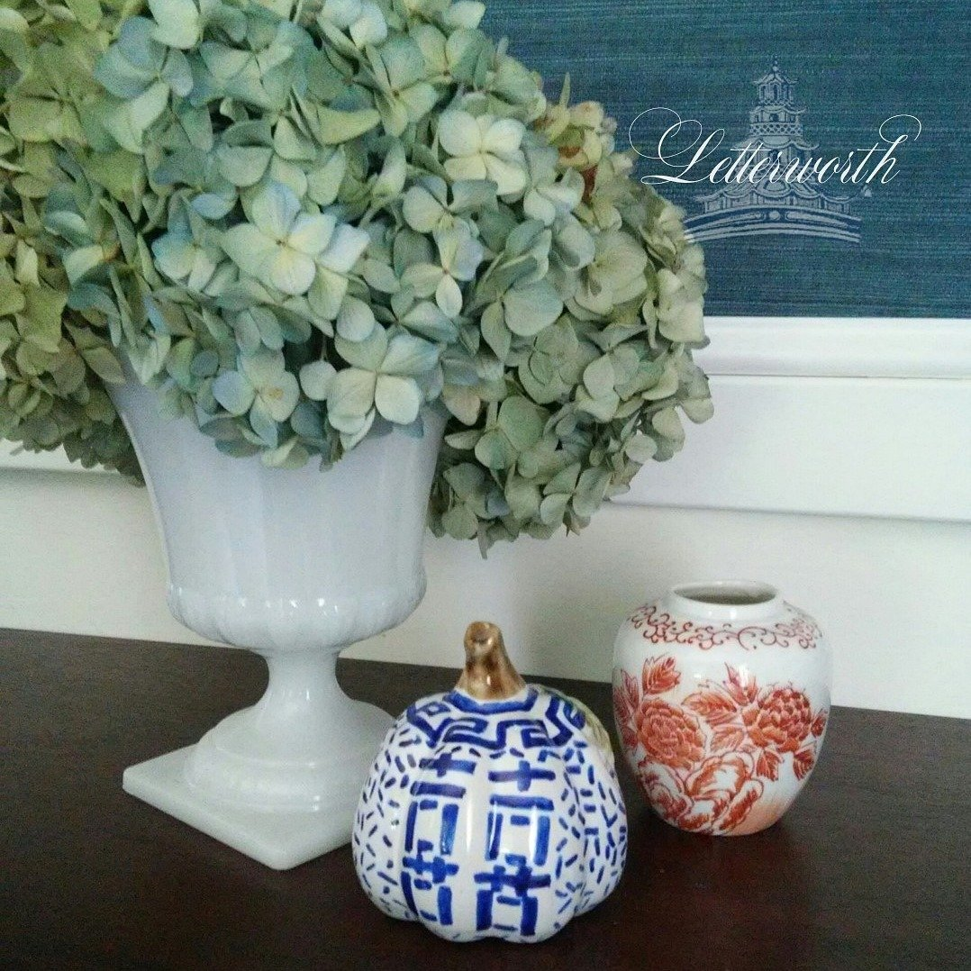 Hand-Painted Blue and White Porcelain Chinoiserie Double Happiness Miniature Pumpkin by Letterworth