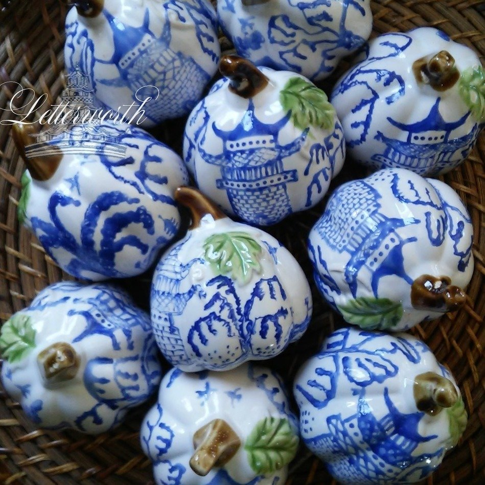 Hand-Painted Blue and White Porcelain Chinoiserie Miniature Pumpkin by Letterworth