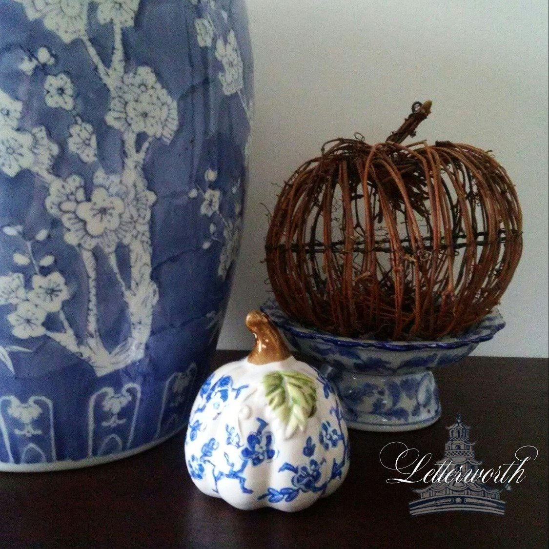 Hand-Painted Blue and White Floral Porcelain Chinoiserie Miniature Pumpkin by Letterworth