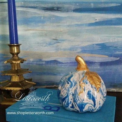 Hand-Painted Marbleized Blue and White Porcelain Miniature Pumpkin with Gold Stem by Letterworth