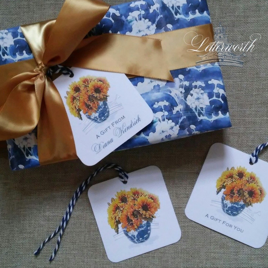Sunflowers in Blue and White Porcelain Vase Chinoiserie Watercolor Gift Tags by Letterworth (Set of 12)