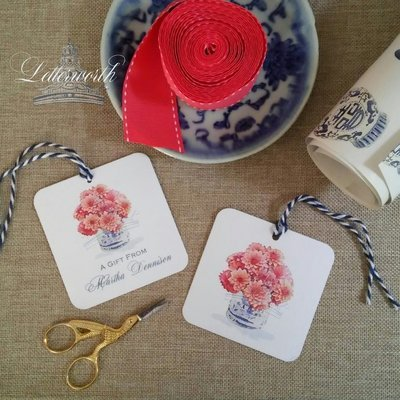 Dahlias in Blue and White Porcelain Cachepot Chinoiserie Watercolor Gift Tags by Letterworth (Set of 12)