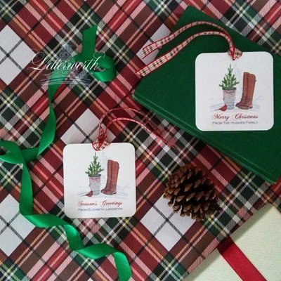 Riding Boots and Boxwoods Holiday Watercolor Gift Tags by Letterworth (Set of 12)