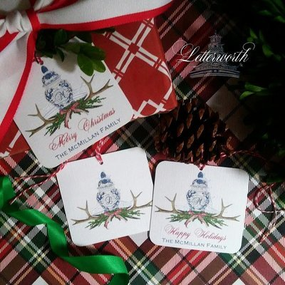Traditional Woodland Holiday Ginger Jar Personalized Gift Tags by Letterworth (Set of 12)
