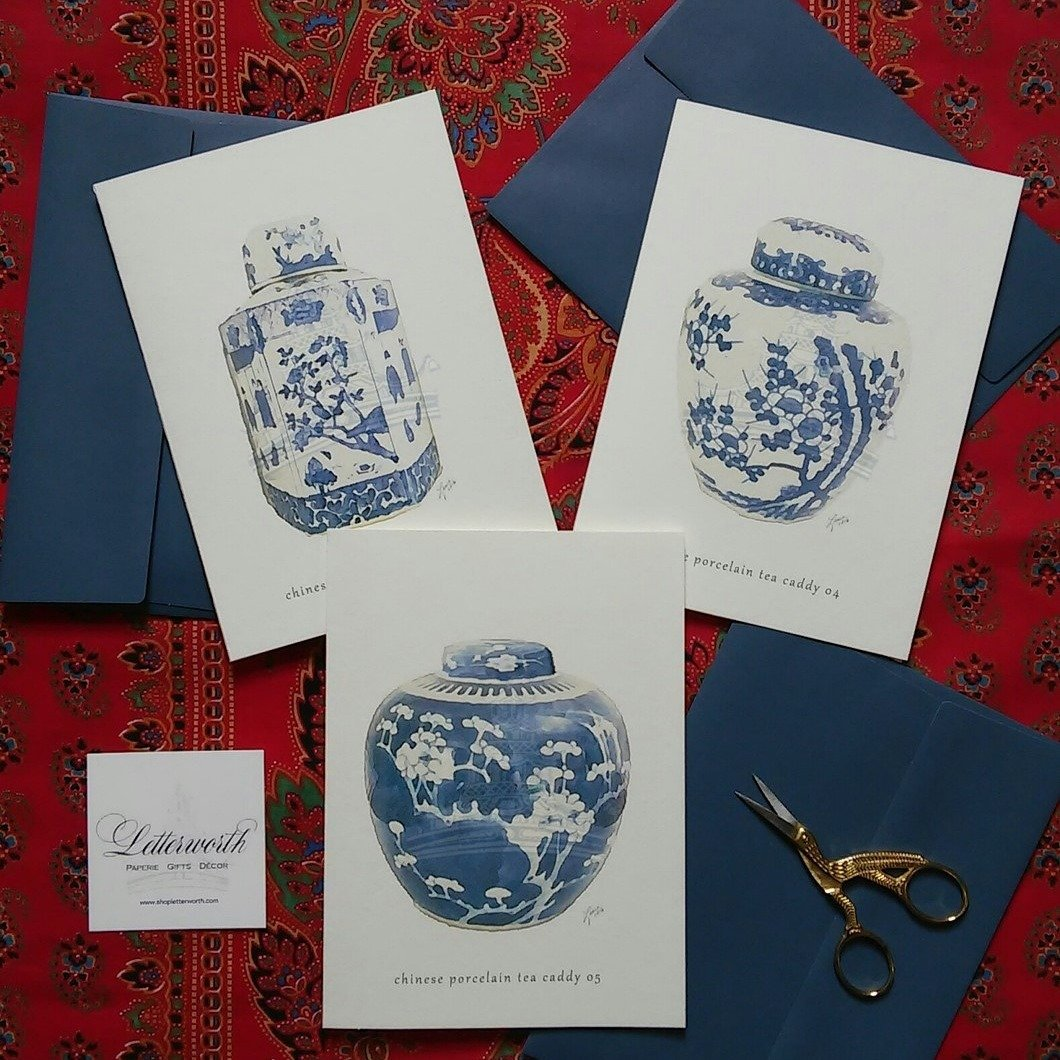 Letterworth Blue and White Giclée Greeting Cards (Set of 3)