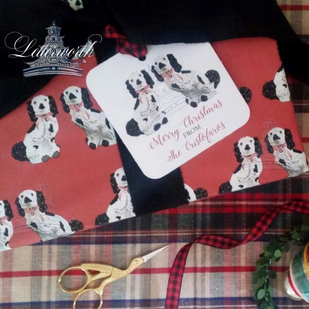 Staffordshire Dogs on Red Gift Wrapping Paper by Letterworth