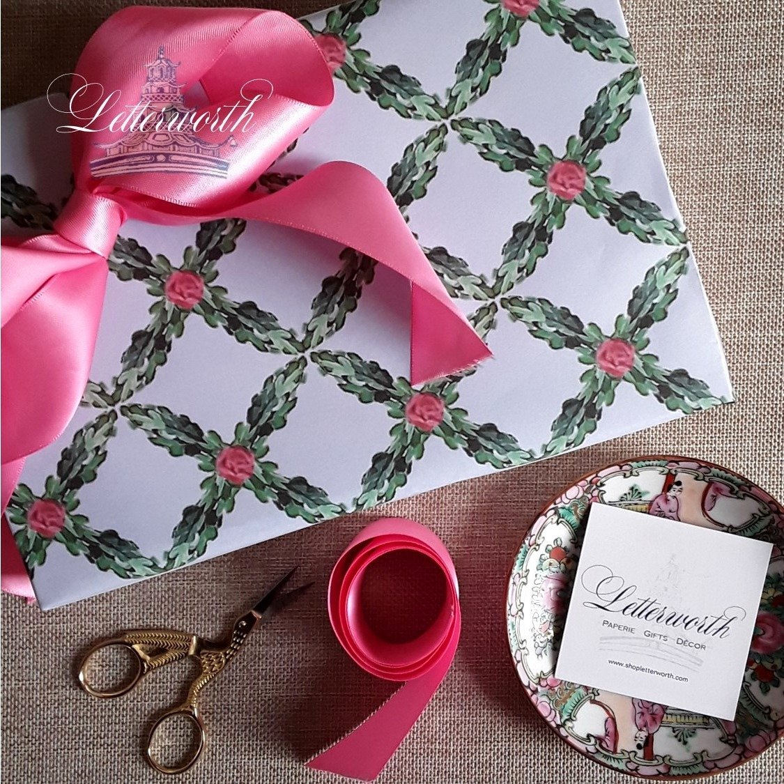 Rose Garden Trellis Gift Wrapping Paper by Letterworth