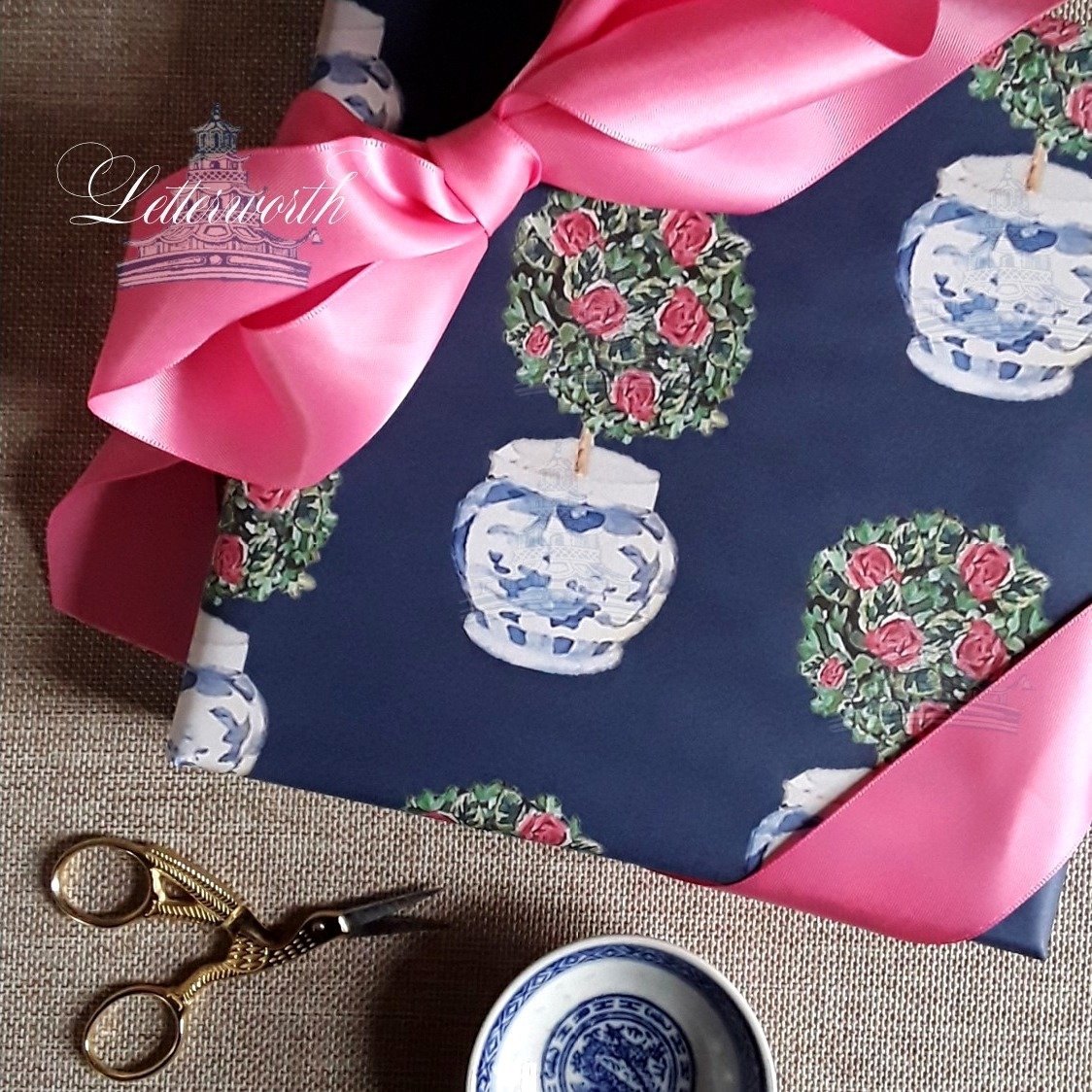 Rose Topiary on Navy Blue Gift Wrapping Paper by Letterworth