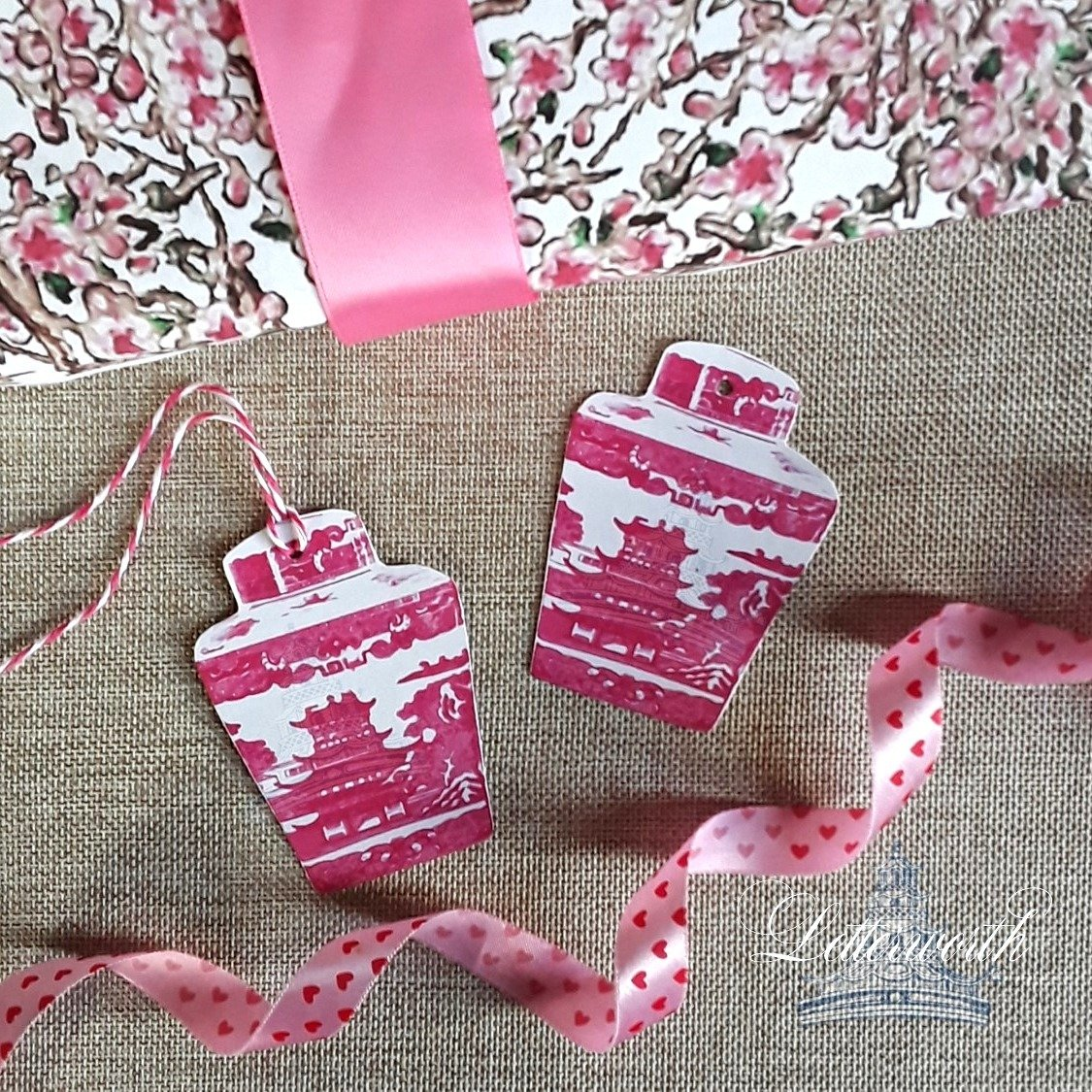 Pink Pagoda Tea Caddy Chinoiserie Gift Tags by Letterworth (Set of 8)