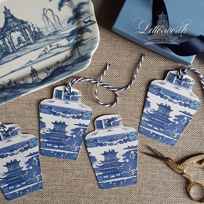 Blue and White Pagoda Tea Caddy Chinoiserie Gift Tags by Letterworth (Set of 8)