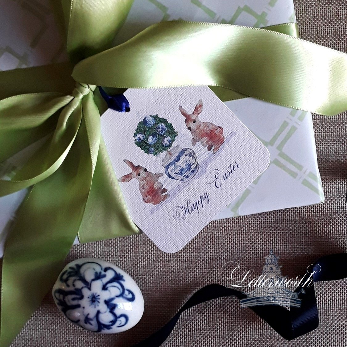 Rabbit Blue and White Easter Egg Topiary Watercolor Gift Tags by Letterworth (Set of 12)