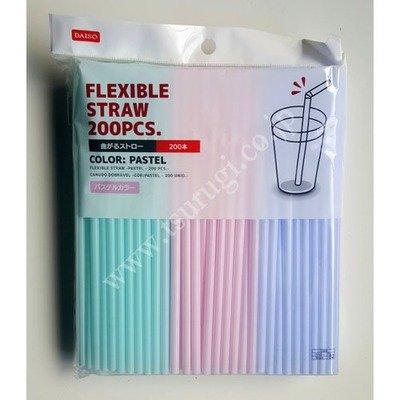 Flexible Straw Pastel Color 200Pcs