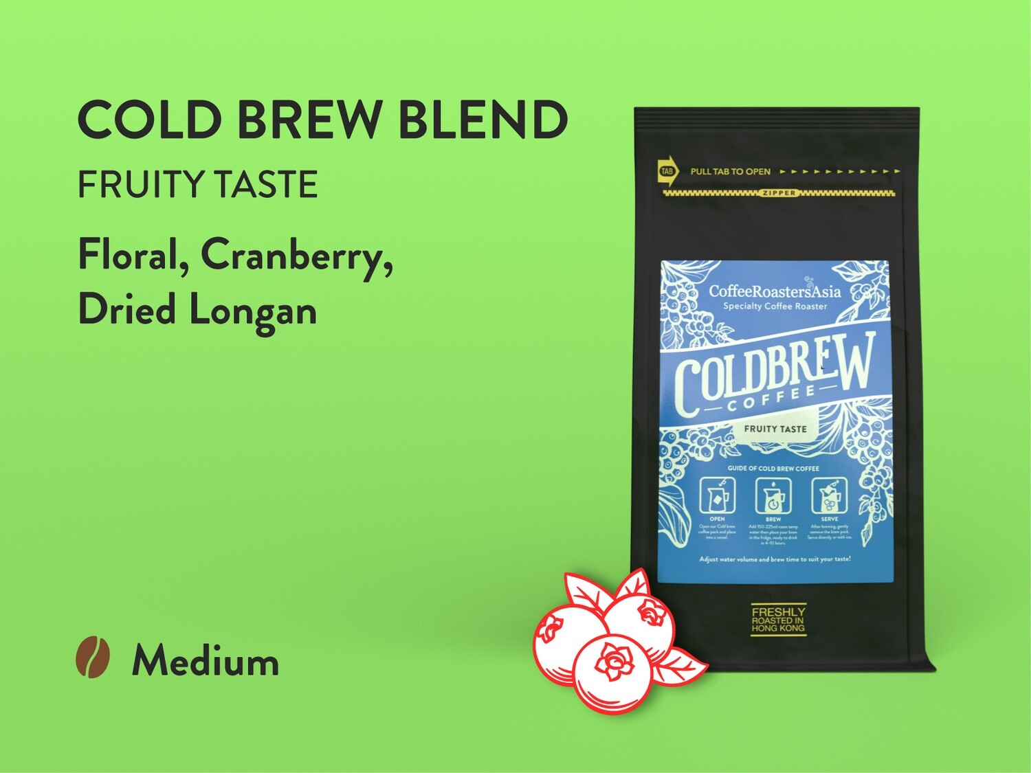 Cold Brew Blend Coffee - Medium Roast Fruity Taste
