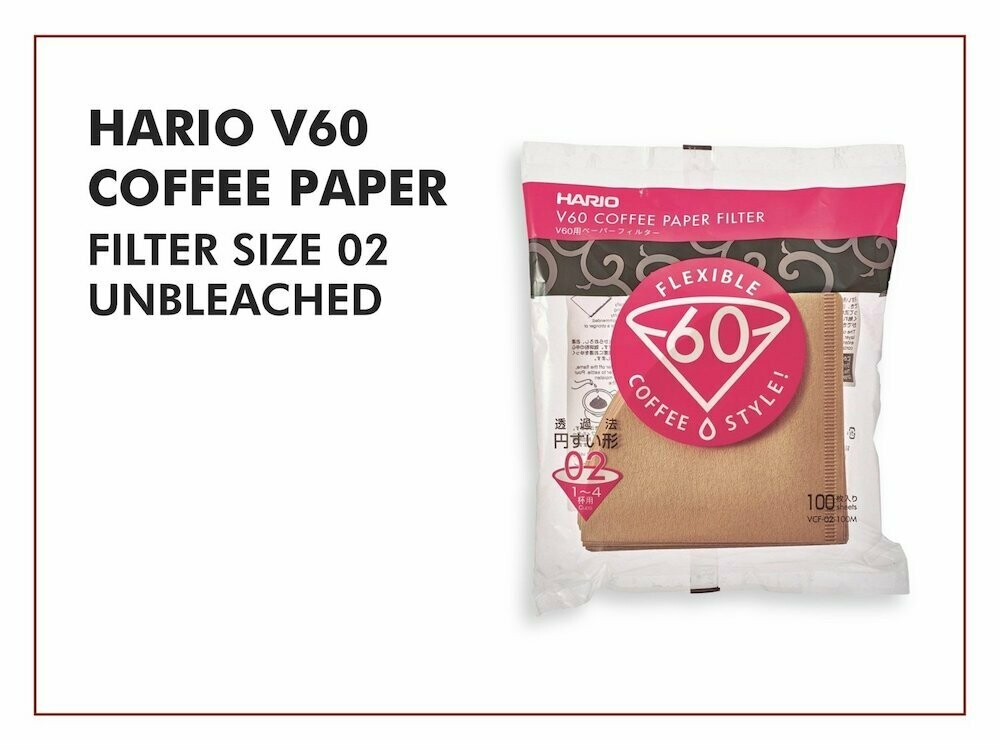 HARIO V60 Filter Paper VFC-02-100M (Unbleached)