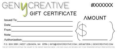 Gen Y Creative Gift Certificate