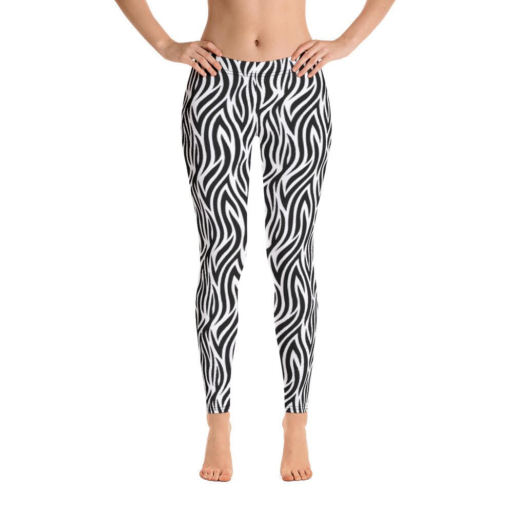 Zebra Small Straps Women's Leggings Printed USA Printful