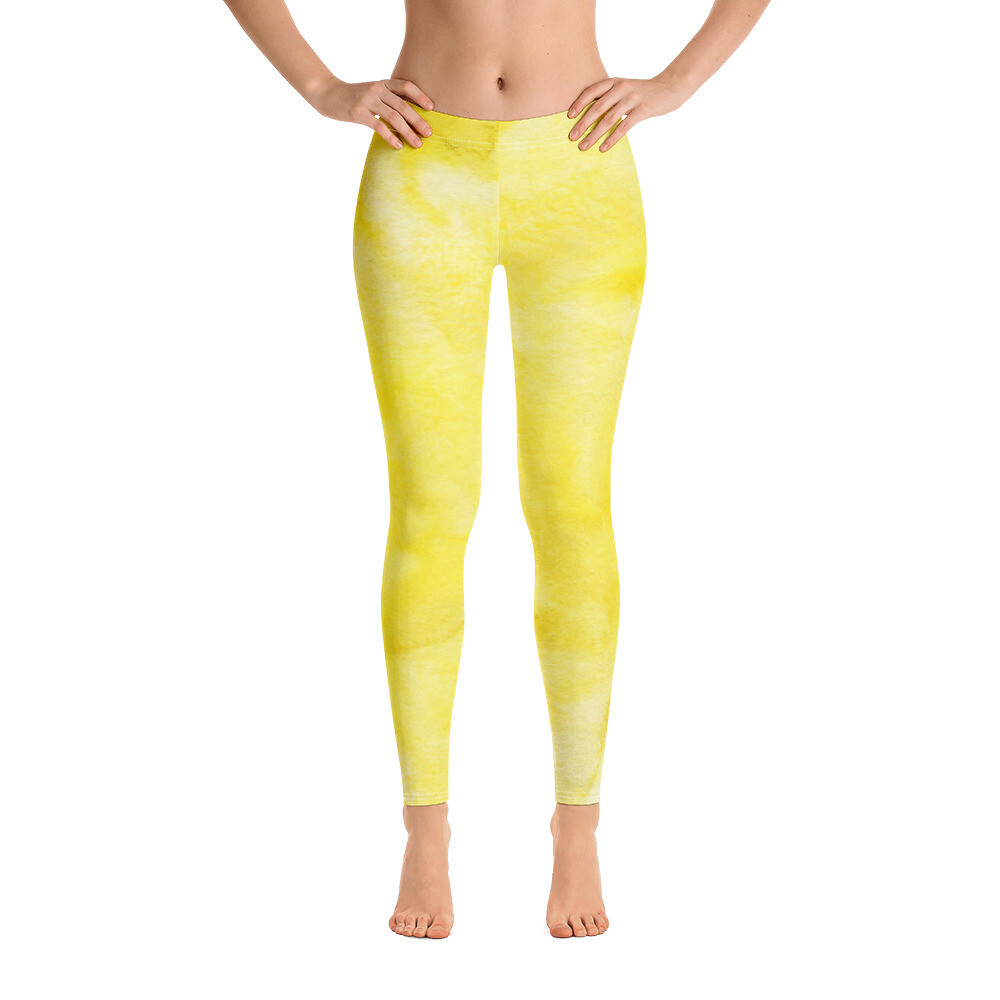 Yellow Watercolour Printed Leggings
