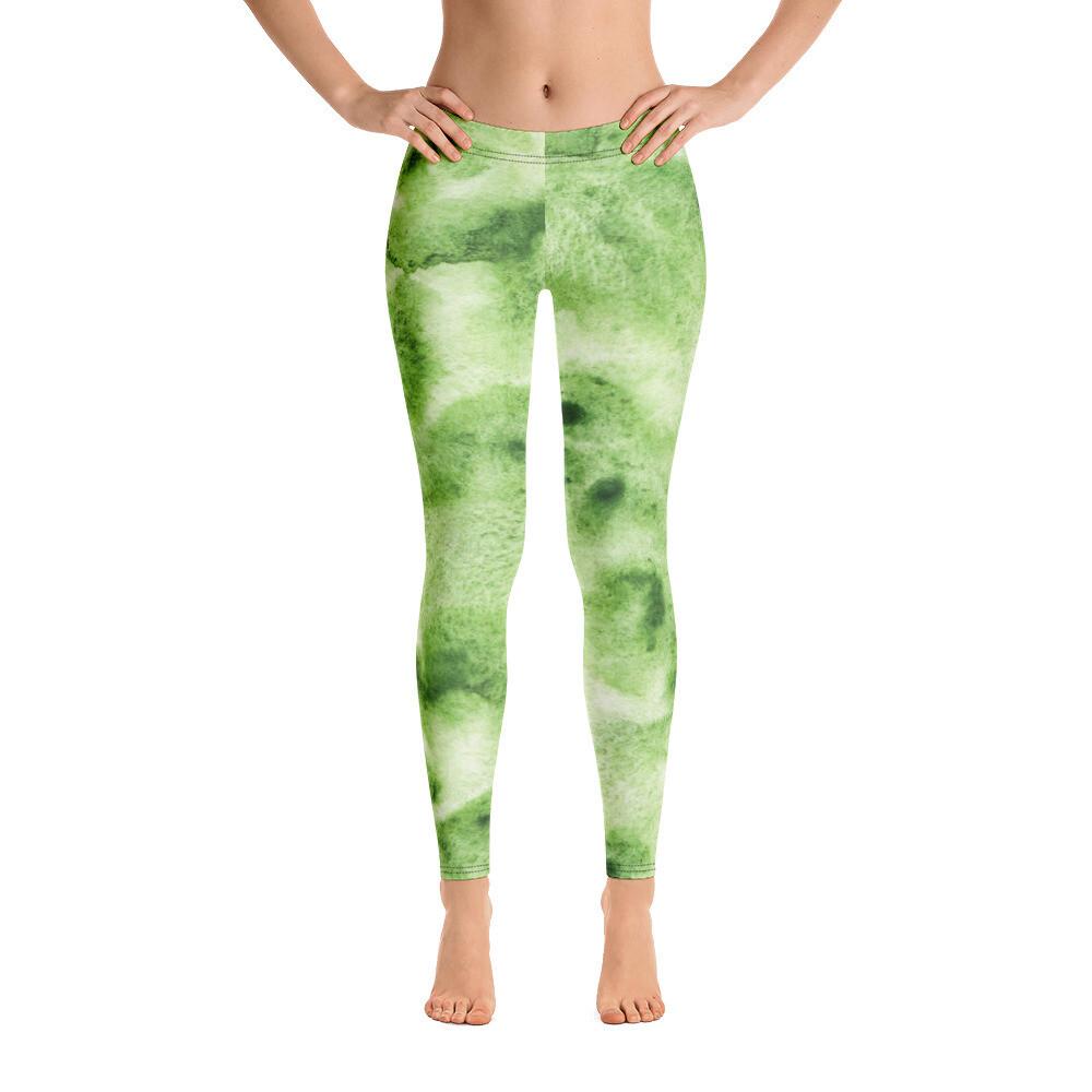 Green Water Colour Modern Leggings for Women