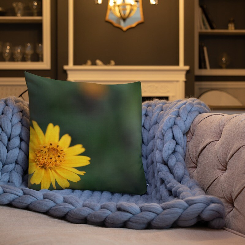 Yeloow Printed Throw Premium Pillow