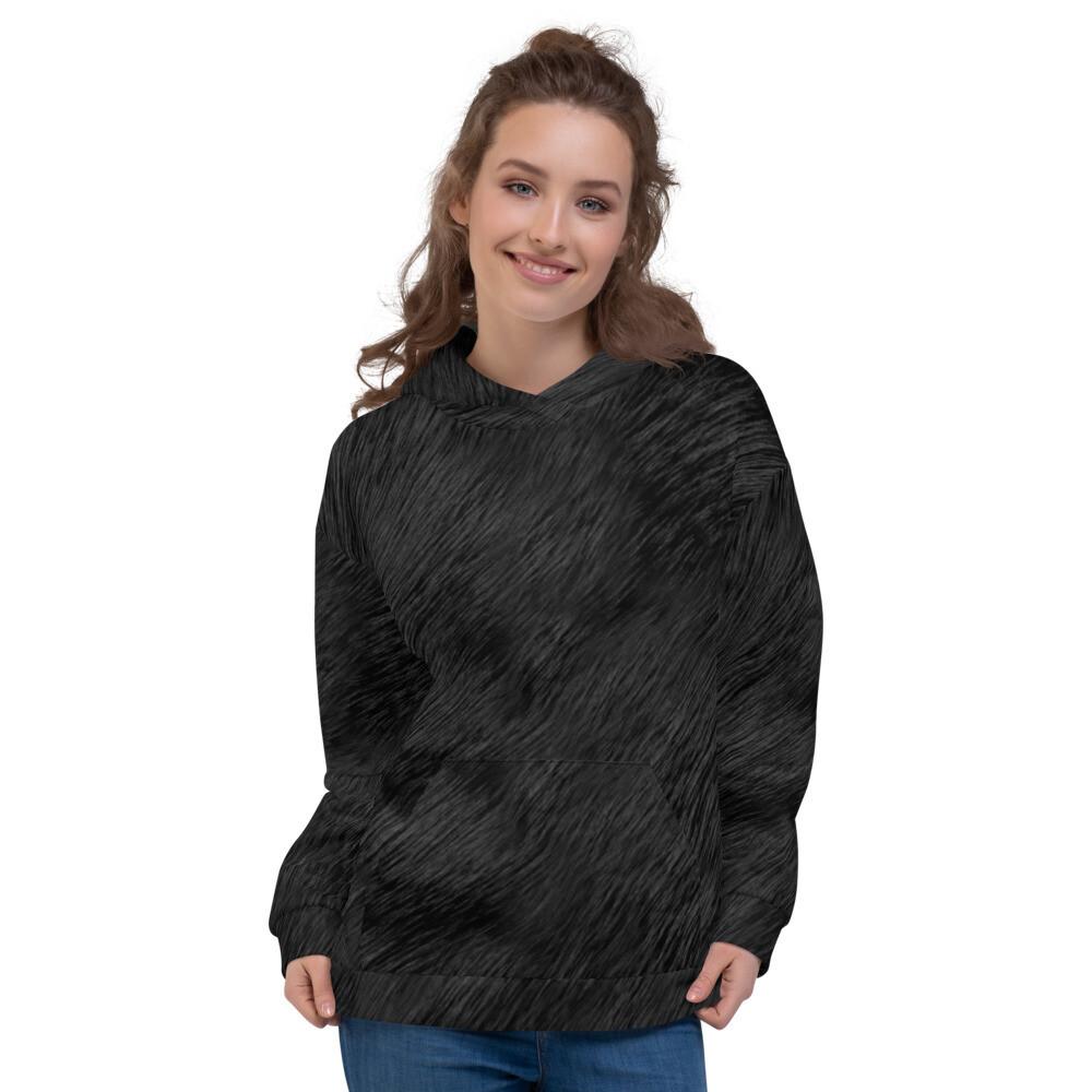 Black Fur Full Printed Unisex Hoodie