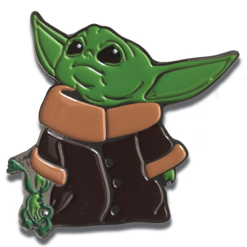 """MyPrintOn Baby Yoda 2"""" with Frog Soft Enamel Nickle Plated Pin The Child Character from The Star Wars Disney Television Series The Mandalorian Too Cute I Am"""