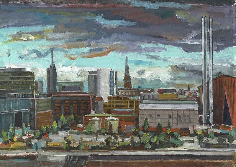 Hafencity (Kraftwerk), 2016, Öl auf Papier auf 4 mm Finpappe, 21 x 29 cm