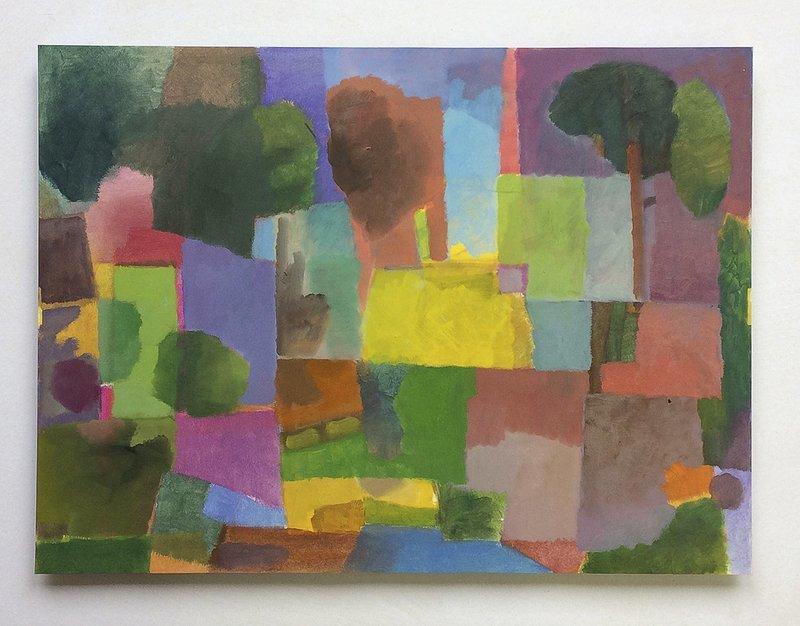 Lohmühlen Park, 2017, Öl auf Papier,auf 4 mm Finpappe, 30 x 40 cm