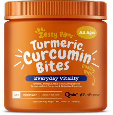 Turmeric Curcumin Bites with Qmin+TM and BioPerine® for Dogs