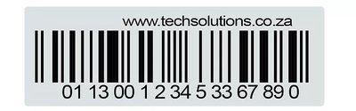 Barcode Asset Label, Durable Plastic, Bulk Pack