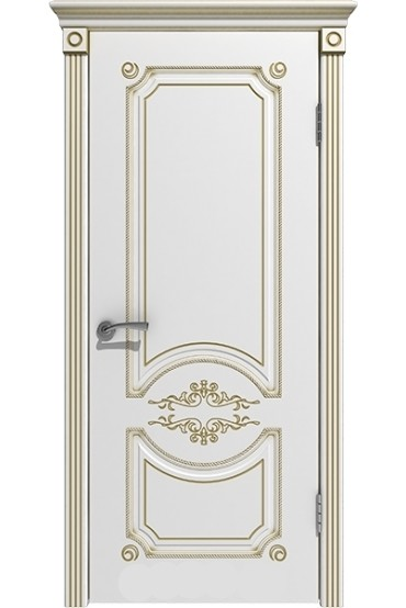 """Дверь массив """"Вероника"""" эмаль белая+золото глухая, Версаль"""