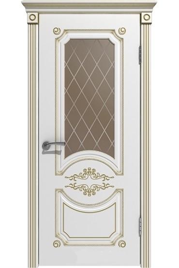 """Дверь массив """"Вероника"""" эмаль белая+золото остекленная, Версаль"""