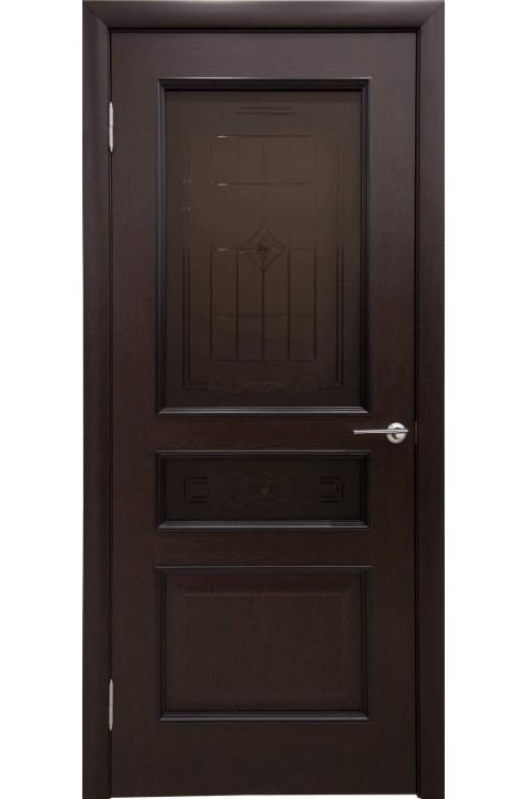 """Дверь остекленная массив шпонированный """"КАЛИНА"""" венге, """"АМК"""""""