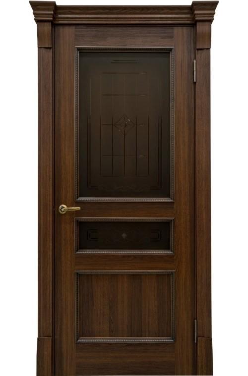 """Дверь остекленная массив шпон """"КАЛИНА"""" (АМК 12к) дуб греческий, """"АМК"""""""