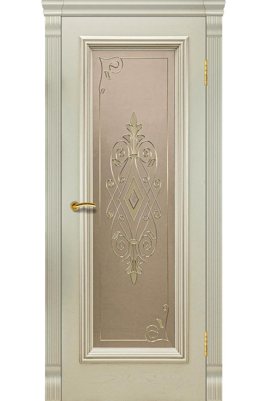 """Дверь массив шпон """"Венера-1"""" остекленная, слоновая кость, Эллада"""
