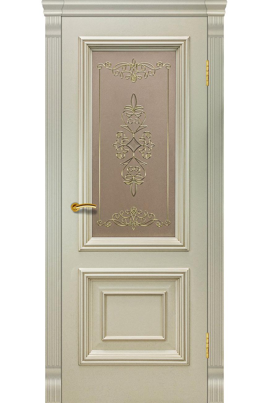 """Дверь массив шпон """"Венера-2"""" остекленная, слоновая кость, Эллада"""