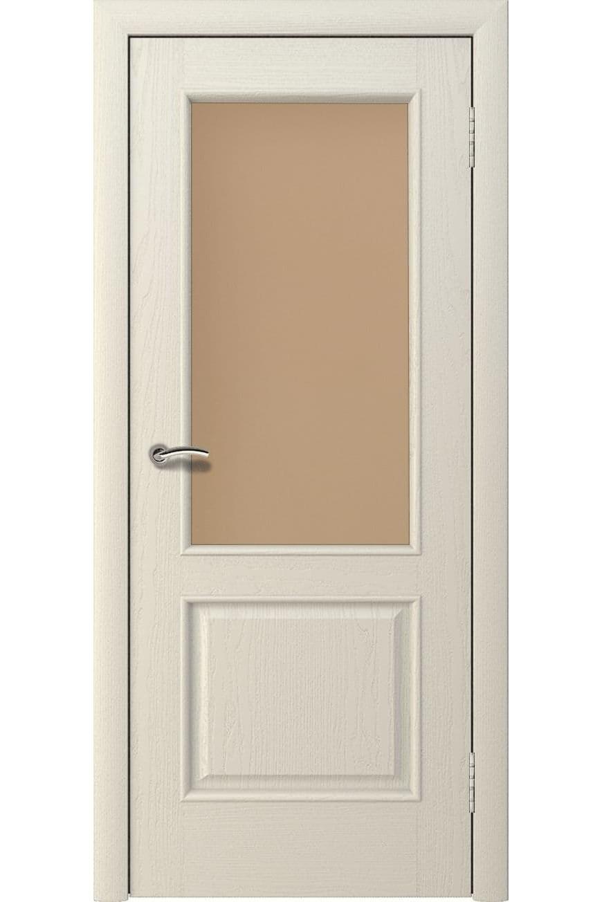"""Дверь остекленная массив шпон """"Мира"""" слоновая кость, Эллада"""