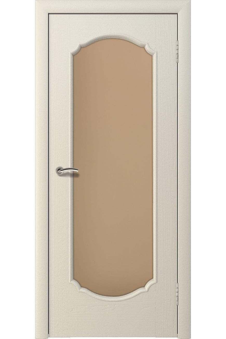 """Дверь массив шпон """"Афина 2"""" остекленная, слоновая кость, Эллада"""