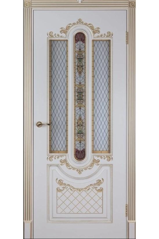"""Дверь остекленная массив шпонированный """"Александрия"""" белое золото + патина, Версаль"""