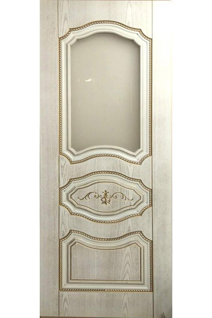 """Дверь остекленная массив шпон """"Марко"""" белое золото + патина, Версаль"""