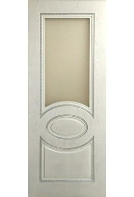 """Дверь остекленная массив шпонированный """"Валенсия"""" белое серебро + патина, Версаль"""